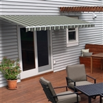 ALEKO® Retractable Patio Awning MULTISTRIPES GREEN - 12FT x 10FT