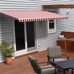 Retractable Patio Awning - 8 x 6.5 Feet - Red and White Stripes - ALEKO