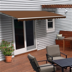 Motorized Retractable Patio Awning 10x8 Feet - Brown - ALEKO