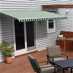 Motorized Retractable Patio Awning - 10X8 Feet - Green and White Striped - ALEKO