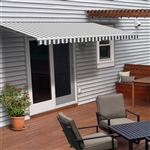 Motorized Retractable Patio Awning - 12X10 Feet - Grey and White Striped - ALEKO