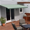 Motorized Retractable Patio Awning - 12X10 Feet - Green and White Striped - ALEKO