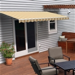 Motorized Retractable Patio Awning - 12X10 Feet - Multi Striped Yellow - ALEKO