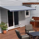 Motorized Retractable Patio Awning - 13X10 Feet - Blue and White Striped - ALEKO