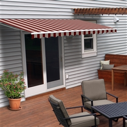 Motorized Retractable Patio Awning - 13X10 Feet - Multi Striped Red - ALEKO