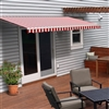 Motorized Retractable Patio Awning - 13X10 Feet - Red and White Striped - ALEKO