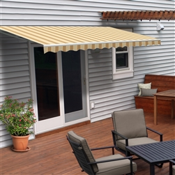 Motorized Retractable Patio Awning - 16x10 Feet - Multi Striped Yellow - ALEKO