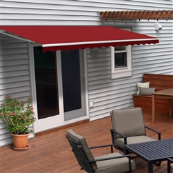 Motorized Retractable Patio Awning - 6.5X5 Feet - Burgundy - ALEKO