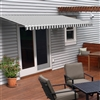 Motorized Retractable Patio Awning - 8x6.5 Feet - Grey and White Striped - ALEKO