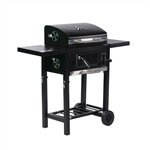 Foldable Wagon Charcoal BBQ Grill with Side Tables and Wheels - Black - ALEKO