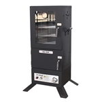 Vertical Offset BBQ Glass Door Gas Smoker with Temperature Gauge - Black - ALEKO