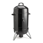 2-in-1 Portable Vertical Charcoal BBQ Smoker Grill with Built-in Thermometer - 18 Inches - ALEKO