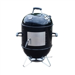 Vertical Portable BBQ Smoker Iron Grill - 18 inches - Black - ALEKO