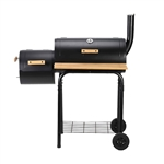 Portable Charcoal BBQ Offset Smoker Grill with Side Fire Box and Wooden Accents - ALEKO