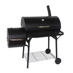 Portable Charcoal BBQ Offset Smoker Grill with Side Fire Box - Black - ALEKO