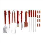 Stainless Steel BBQ Grilling Accessories Tool Set with Storage Case- Red - ALEKO