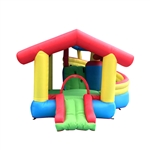 Inflatable Playtime Bounce House with Double Slide and Shaded Canopy - ALEKO