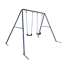 Outdoor Sturdy Child Swing Seat with 2 Swings - Blue and Green - ALEKO