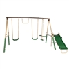 Outdoor Sturdy Child Swing Set with 2 Swings, Trapeze, Glider, and Slide - Green - ALEKO