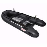 ALEKO® BTF380BK PRO Fishing Boat Raft 12.5 Feet (3.8 m) with Aluminum Floor 6 Person Inflatable Boat with Fishing Rod and Front Board Holders, Black