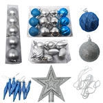 Shatterproof - Traditional Holiday Ornament Variety Pack - Set of 50 - Blue and Silver - ALEKO