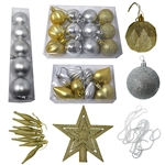 Shatterproof - Traditional Holiday Ornament Variety Pack - Set of 50 - Silver and Gold - ALEKO