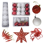 Shatterproof - Traditional Holiday Ornament Variety Pack - Set of 50 - Red and White - ALEKO