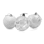 Iridescent Holiday Ornament  Variety Pack - Set of 9 - White - ALEKO