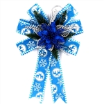 Large Statement Holiday Bow Christmas Swag for Wall - Blue and Silver - ALEKO