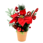 Decorative Christmas Centerpiece Holiday Arrangement - Green and Red - ALEKO