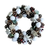 Whimsical Holiday Christmas Cotton Wreath with Pine Cones and Cranberries - ALEKO
