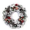 Snow Dusted Holiday Christmas Wreath with Berry Clusters - ALEKO