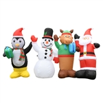 Giant Inflatable LED Waving Christmas Penguin, Snowman, Reindeer, and Santa Crew - 8 Foot - ALEKO