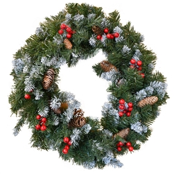 Decorative Holiday Christmas Wreath with Wintry Accents - Green - ALEKO
