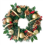 Decorative Holiday Christmas Artificial Wreath with Pine Cones and Ornaments - Green - ALEKO