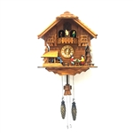 Handcrafted Wooden Cuckoo Wall Clock Home Art with Chirping Bird and Dancing Townsfolk 12 x 11 x 6.5 Inches - Brown - ALEKO