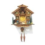Handcrafted Wooden Cuckoo Wall Clock Home Art with Chirping Bird and Dancing Townsfolk 14.5 x 15 x 7 Inches - Brown - ALEKO