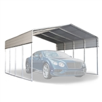 Galvanized Steel Carport and Canopy Shelter - 12 x 20 Feet - White - ALEKO
