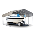 Galvanized Steel Carport and Canopy Shelter - 12 x 23 Feet - White - ALEKO