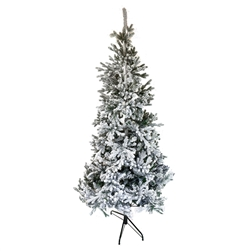 Artificial Flocked Spruce Holiday Christmas Tree - Snow Dusted - 7 Foot - ALEKO
