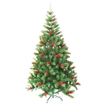 Luscious Artificial Indoor Christmas Holiday Tree - 6 Foot - with Cranberry Clusters - ALEKO