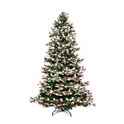 Snow Dusted Artificial Indoor Christmas Holiday Tree - 5 Foot - with Cranberry Clusters - ALEKO