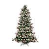Snow Dusted Artificial Indoor Christmas Holiday Tree - 6 Foot - with Cranberry Clusters - ALEKO