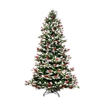 Snow Dusted Artificial Indoor Christmas Holiday Tree - 7 Foot - with Cranberry Clusters - ALEKO