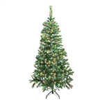 ALEKO® CTDG84H250MC Luscious 7.5 Feet (2.3 m) Artificial Christmas Tree With Multicolored LED Lights, Dark Green Color
