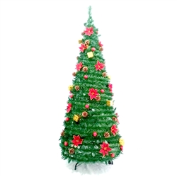 Pre-Decorated Instant Pop Up Christmas Holiday Tree - 7 Foot - ALEKO