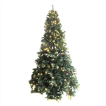 Pre-Lit Artificial Christmas Tree with Pine Cones - 8 Foot - ALEKO