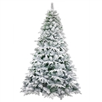 Deluxe Artificial Indoor Christmas Holiday Tree - 8 Foot - Snow Dusted - ALEKO