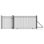 Steel Sliding Driveway Gate - 18 ft with Pedestrian Gate - 5 ft - MADRID Style - ALEKO