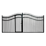 Steel Dual Swing Driveway Gate with Built-In Pedestrian Door - VIENNA Style - 16 x 7 Feet - ALEKO